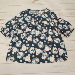 Boden Floral 3/4 Sleeve Top